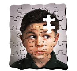 "An explicit depiction of the concept""normal boy - puzzle piece = autistic boy."""