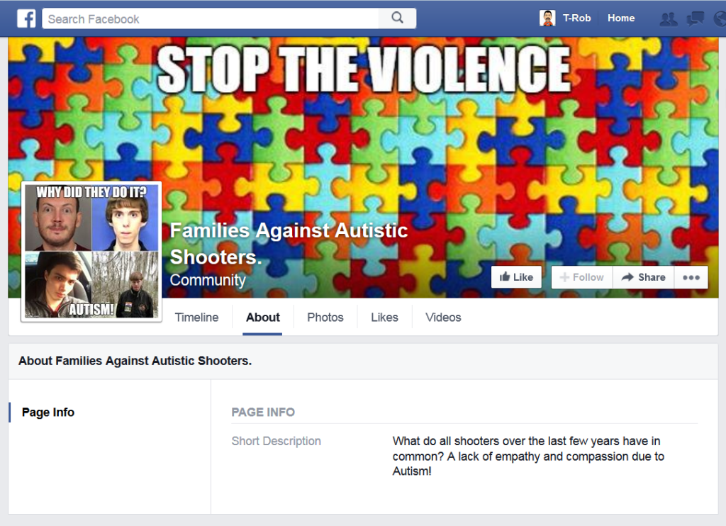 Families Against Autistic Shooters page